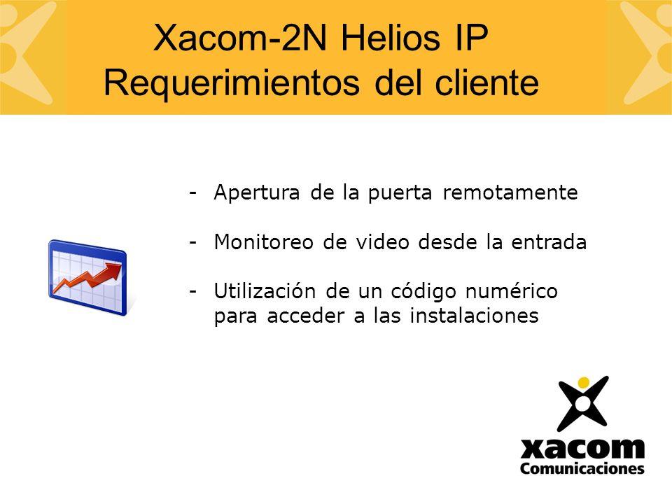 -Apertura de la puerta remotamente -Monitoreo de video desde la entrada -Utilización de un código numérico para acceder a las instalaciones Xacom-2N Helios IP Requerimientos del cliente