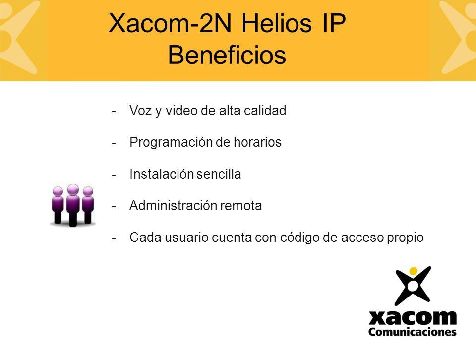 -Voz y video de alta calidad -Programación de horarios -Instalación sencilla -Administración remota -Cada usuario cuenta con código de acceso propio Xacom-2N Helios IP Beneficios