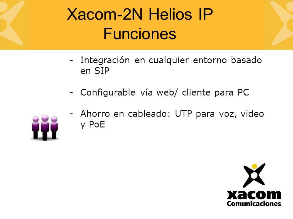 -Integración en cualquier entorno basado en SIP -Configurable vía web/ cliente para PC -Ahorro en cableado: UTP para voz, video y PoE Xacom-2N Helios IP Funciones