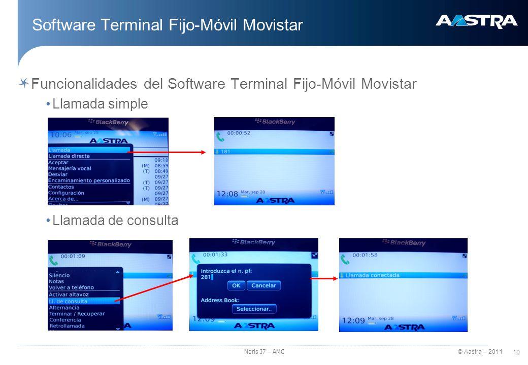 © Aastra – 2011 11 Neris I7 – AMC Software Terminal Fijo-Móvil Movistar Funcionalidades del Software Terminal Fijo-Móvil Movistar Conferencia y transferencia de la comunicación Desvío de llamadas al buzón de voz