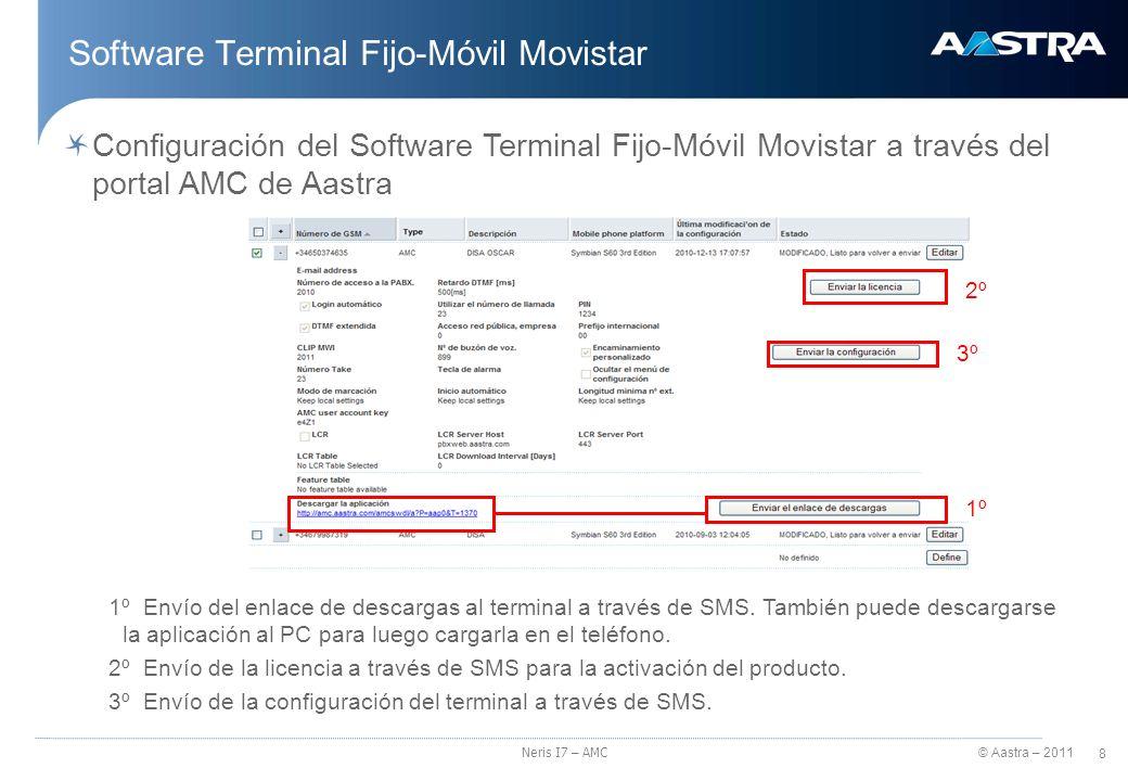 © Aastra – 2011 9 Neris I7 – AMC Software Terminal Fijo-Móvil Movistar Configuración de la aplicación en el terminal (ej.en BlackBerry) 1.Enviar el enlace de descarga 2.Enviar la licencia 3.Enviar la configuración