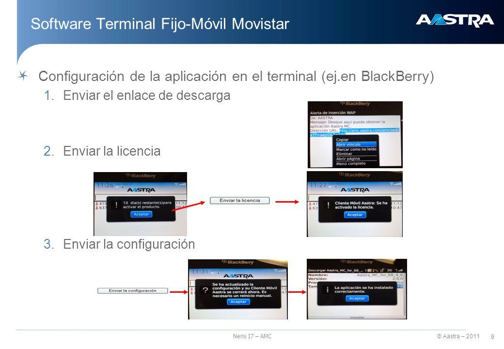 © Aastra – 2011 10 Neris I7 – AMC Software Terminal Fijo-Móvil Movistar Funcionalidades del Software Terminal Fijo-Móvil Movistar Llamada simple Llamada de consulta