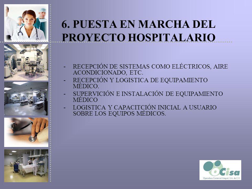 6. PUESTA EN MARCHA DEL PROYECTO HOSPITALARIO -RECEPCIÓN DE SISTEMAS COMO ELÉCTRICOS, AIRE ACONDICIONADO, ETC. -RECEPCIÓN Y LOGISTICA DE EQUIPAMIENTO