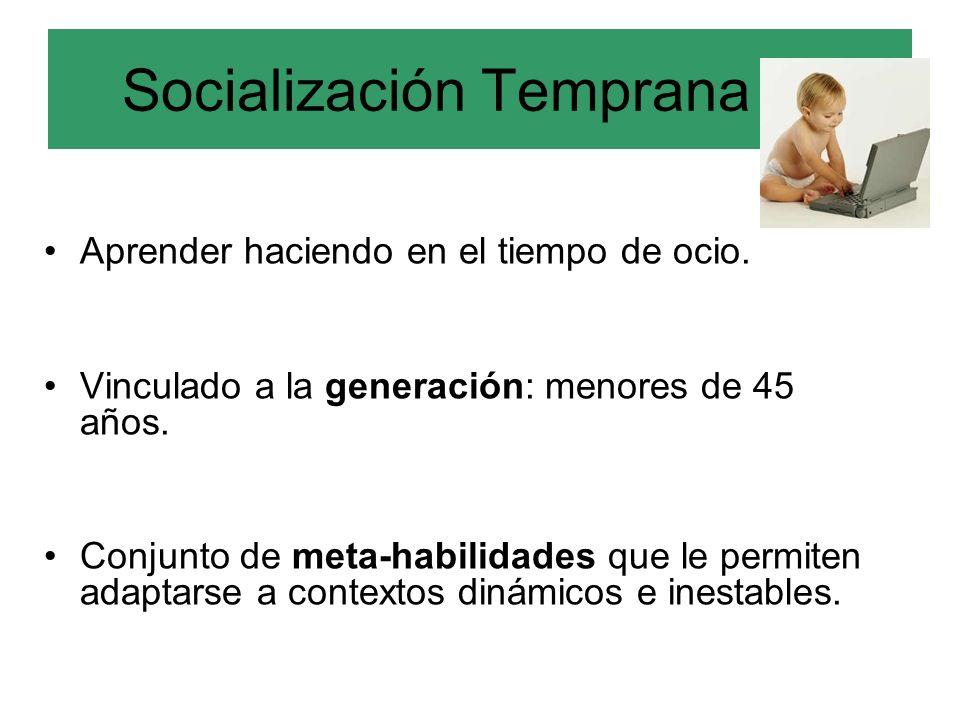 Socialización Temprana (a) Aprender haciendo en el tiempo de ocio. Vinculado a la generación: menores de 45 años. Conjunto de meta-habilidades que le