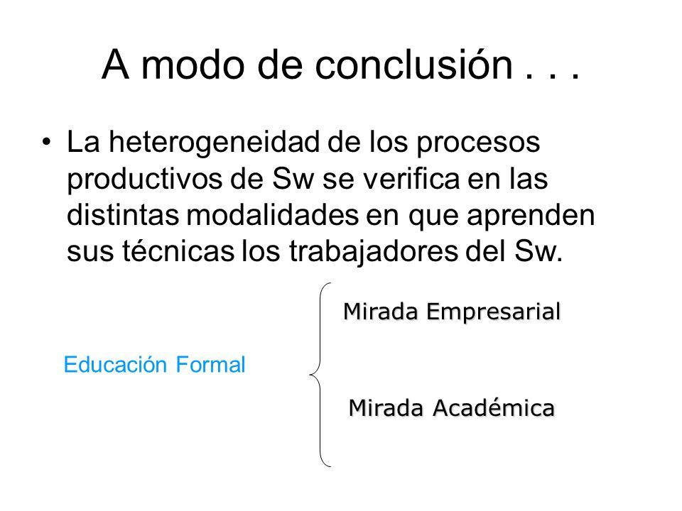 A modo de conclusión... La heterogeneidad de los procesos productivos de Sw se verifica en las distintas modalidades en que aprenden sus técnicas los