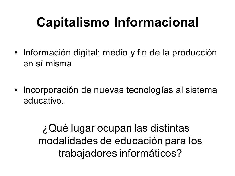 Capitalismo Informacional Información digital: medio y fin de la producción en sí misma. Incorporación de nuevas tecnologías al sistema educativo. ¿Qu