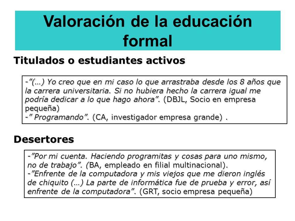 Valoración de la educación formal -Por mi cuenta. Haciendo programitas y cosas para uno mismo, no de trabajo. (BA, empleado en filial multinacional).