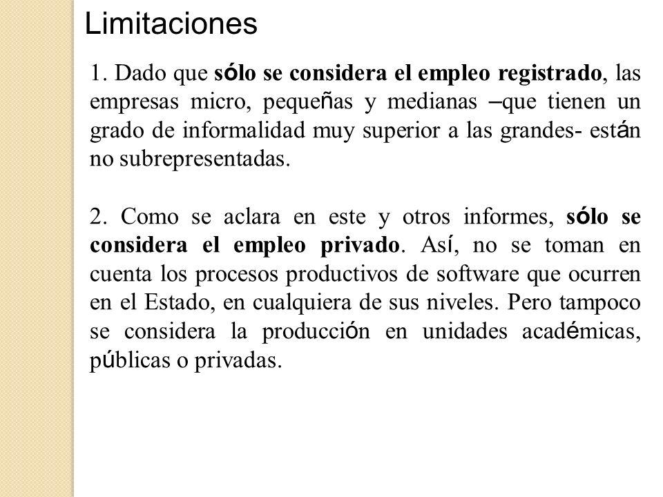 Limitaciones 1. Dado que s ó lo se considera el empleo registrado, las empresas micro, peque ñ as y medianas – que tienen un grado de informalidad muy