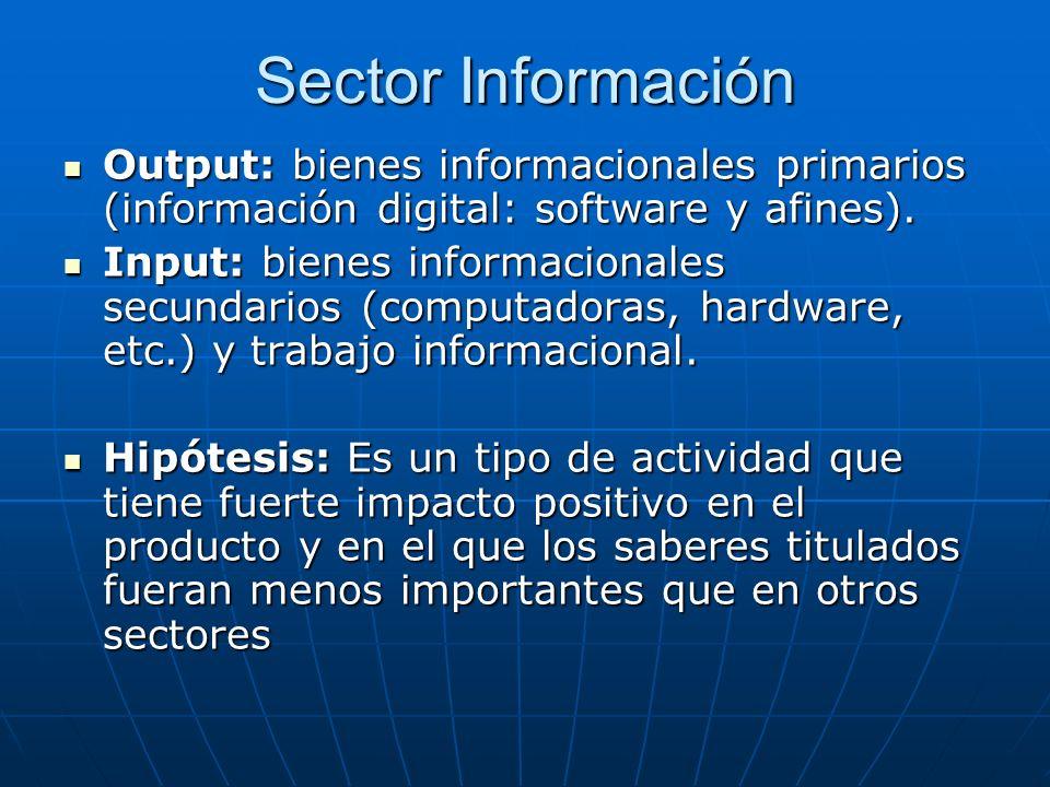 Sector Información Output: bienes informacionales primarios (información digital: software y afines).