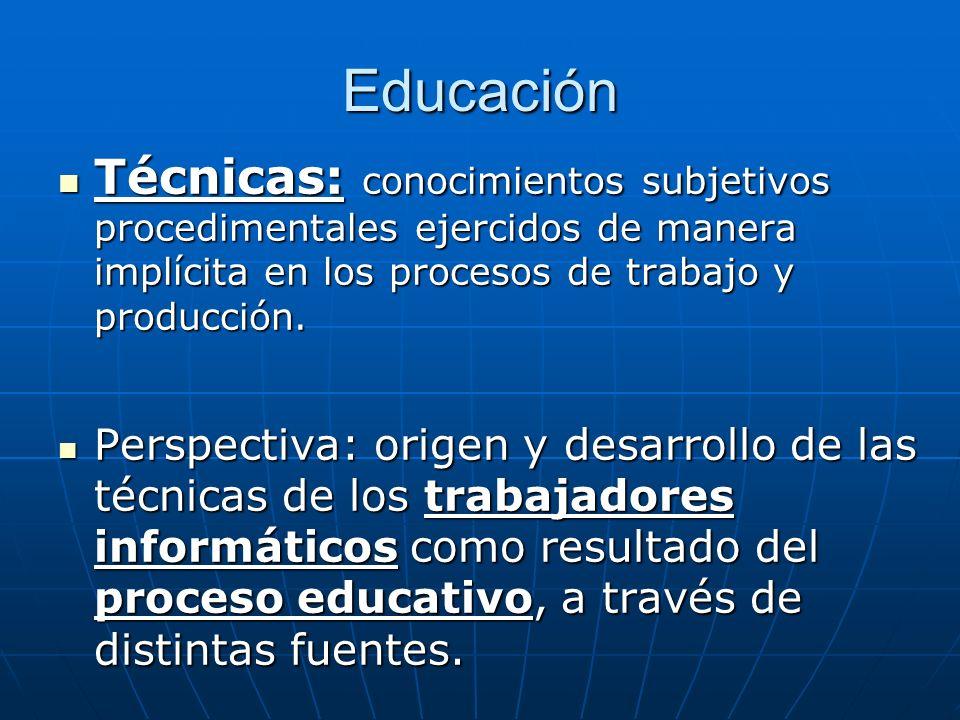 Educación Técnicas: conocimientos subjetivos procedimentales ejercidos de manera implícita en los procesos de trabajo y producción. Técnicas: conocimi
