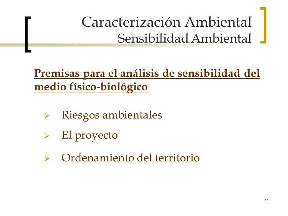 20 Caracterización Ambiental Sensibilidad Ambiental Riesgos ambientales El proyecto Ordenamiento del territorio Premisas para el análisis de sensibili