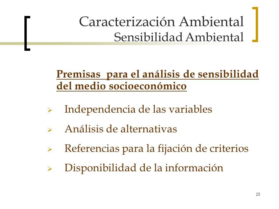 25 Caracterización Ambiental Sensibilidad Ambiental Independencia de las variables Análisis de alternativas Referencias para la fijación de criterios