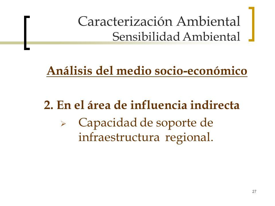 27 Caracterización Ambiental Sensibilidad Ambiental 2. En el área de influencia indirecta Capacidad de soporte de infraestructura regional. Análisis d