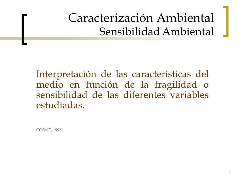 3 Caracterización Ambiental Sensibilidad Ambiental Interpretación de las características del medio en función de la fragilidad o sensibilidad de las d