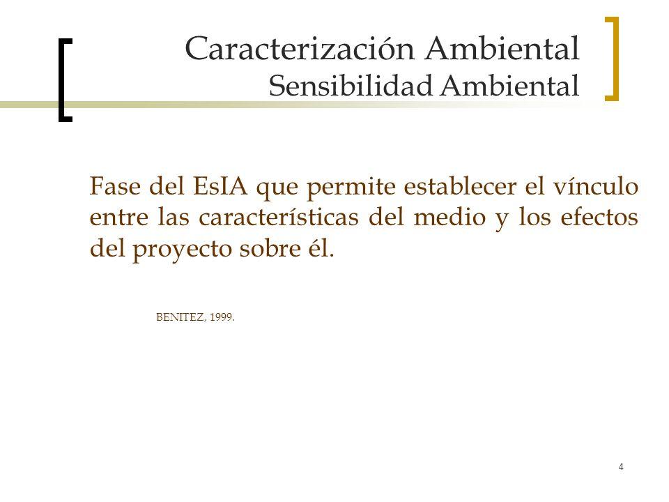 4 Caracterización Ambiental Sensibilidad Ambiental Fase del EsIA que permite establecer el vínculo entre las características del medio y los efectos d