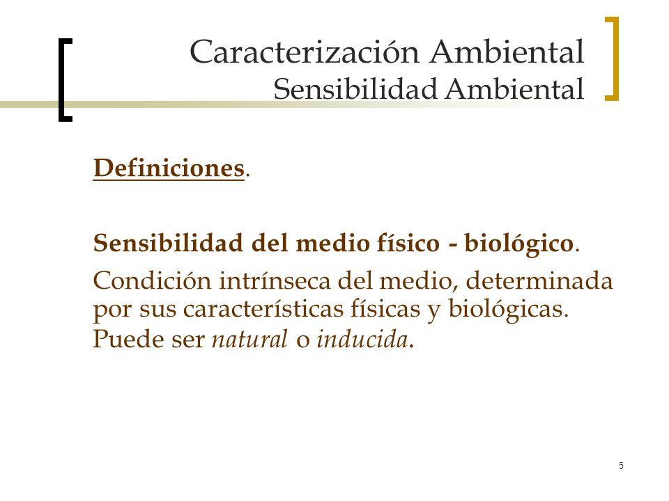 5 Caracterización Ambiental Sensibilidad Ambiental Definiciones. Sensibilidad del medio físico - biológico. Condición intrínseca del medio, determinad