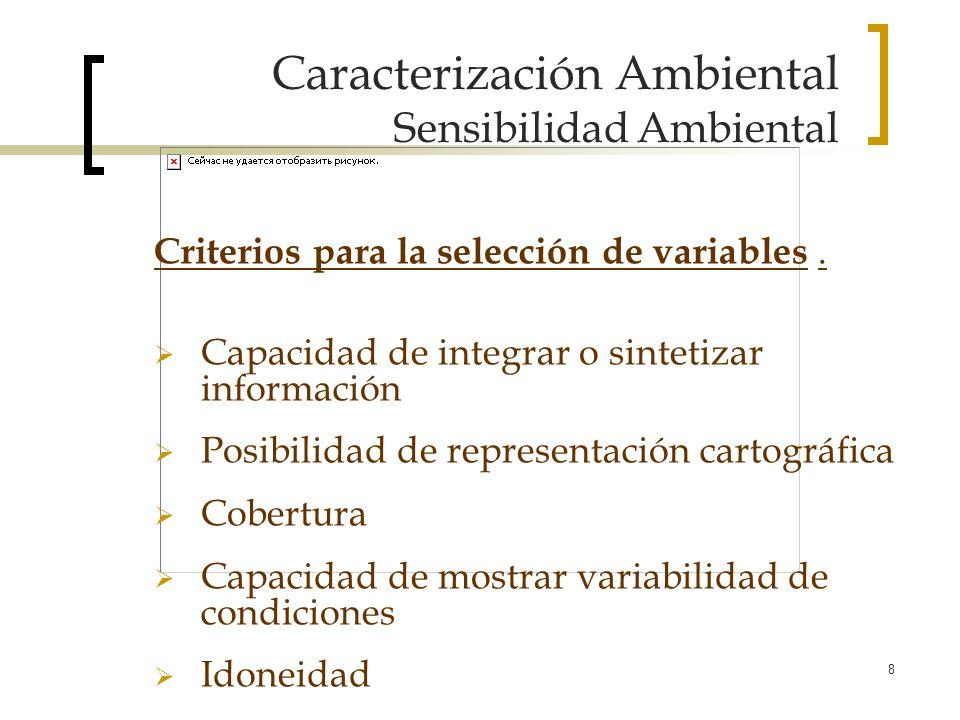 8 Caracterización Ambiental Sensibilidad Ambiental Criterios para la selección de variables. Capacidad de integrar o sintetizar información Posibilida