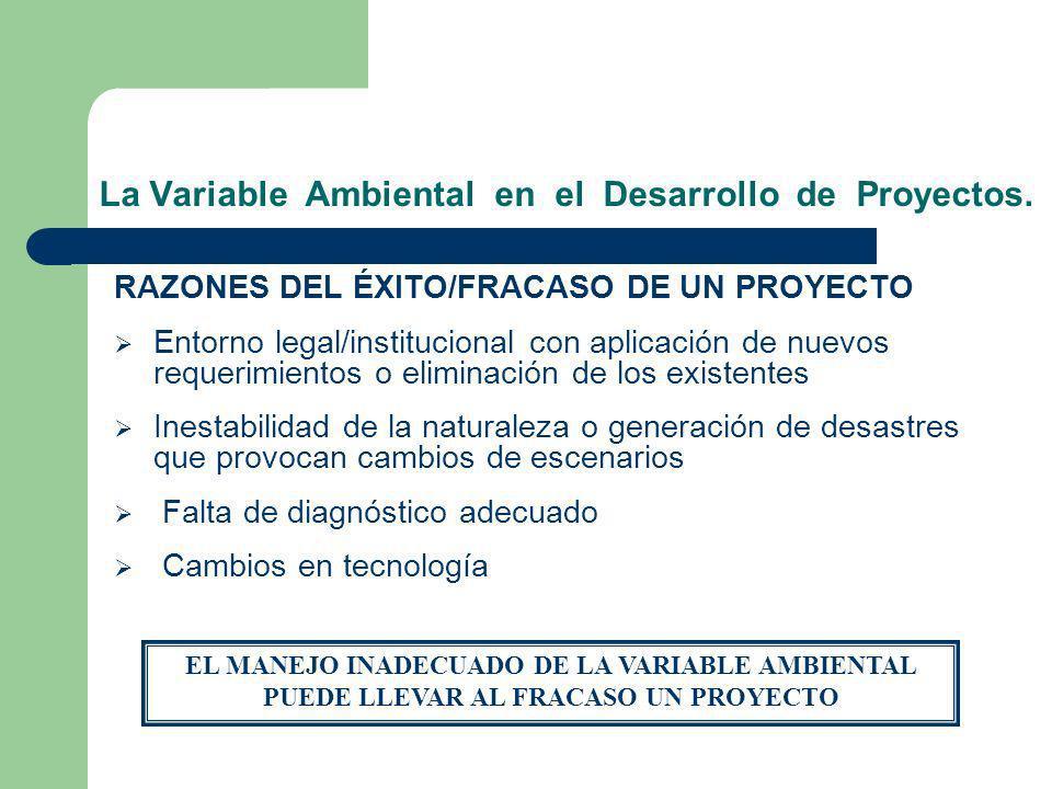La Variable Ambiental en el Desarrollo de Proyectos. RAZONES DEL ÉXITO/FRACASO DE UN PROYECTO Entorno legal/institucional con aplicación de nuevos req