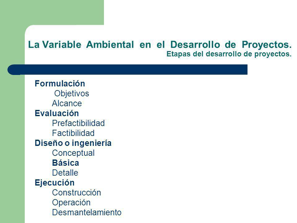 La Variable Ambiental en el Desarrollo de Proyectos. Etapas del desarrollo de proyectos. Formulación Objetivos Alcance Evaluación Prefactibilidad Fact