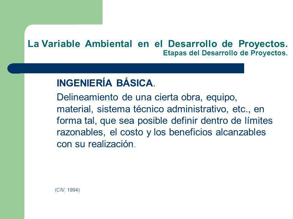 La Variable Ambiental en el Desarrollo de Proyectos. Etapas del Desarrollo de Proyectos. INGENIERÍA BÁSICA. Delineamiento de una cierta obra, equipo,