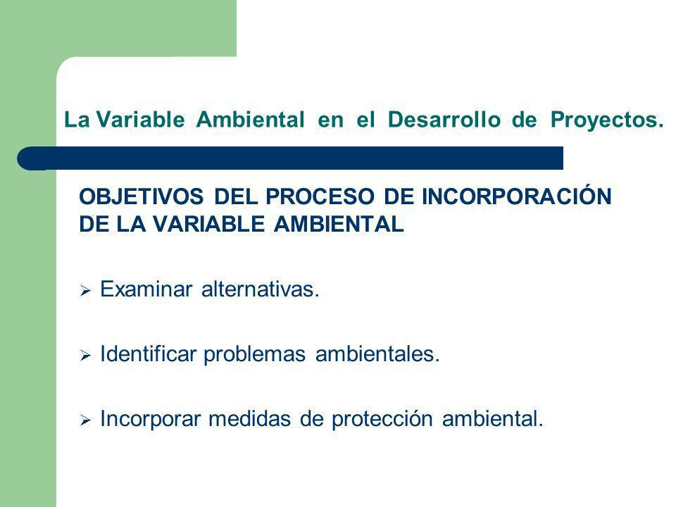 La Variable Ambiental en el Desarrollo de Proyectos. OBJETIVOS DEL PROCESO DE INCORPORACIÓN DE LA VARIABLE AMBIENTAL Examinar alternativas. Identifica