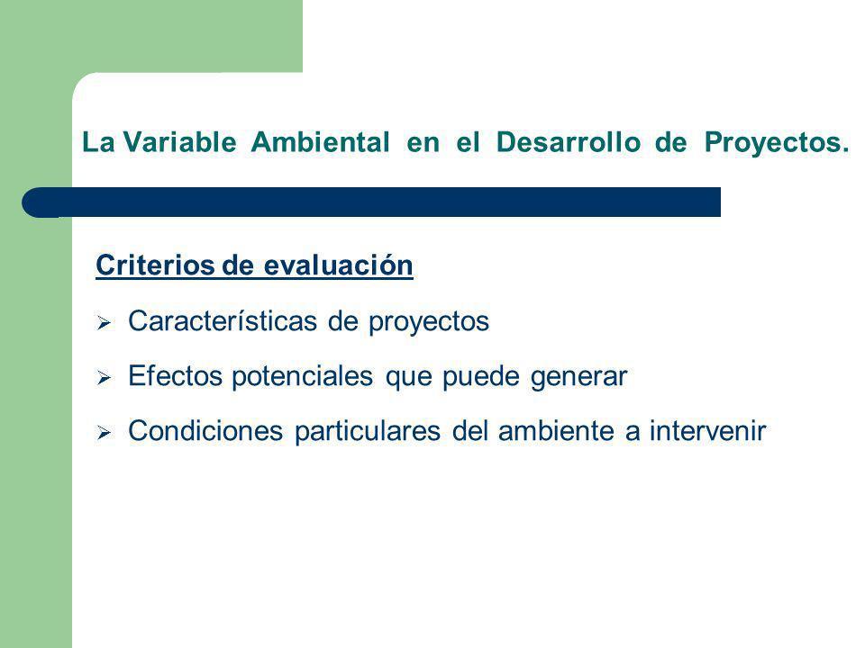 La Variable Ambiental en el Desarrollo de Proyectos. Criterios de evaluación Características de proyectos Efectos potenciales que puede generar Condic