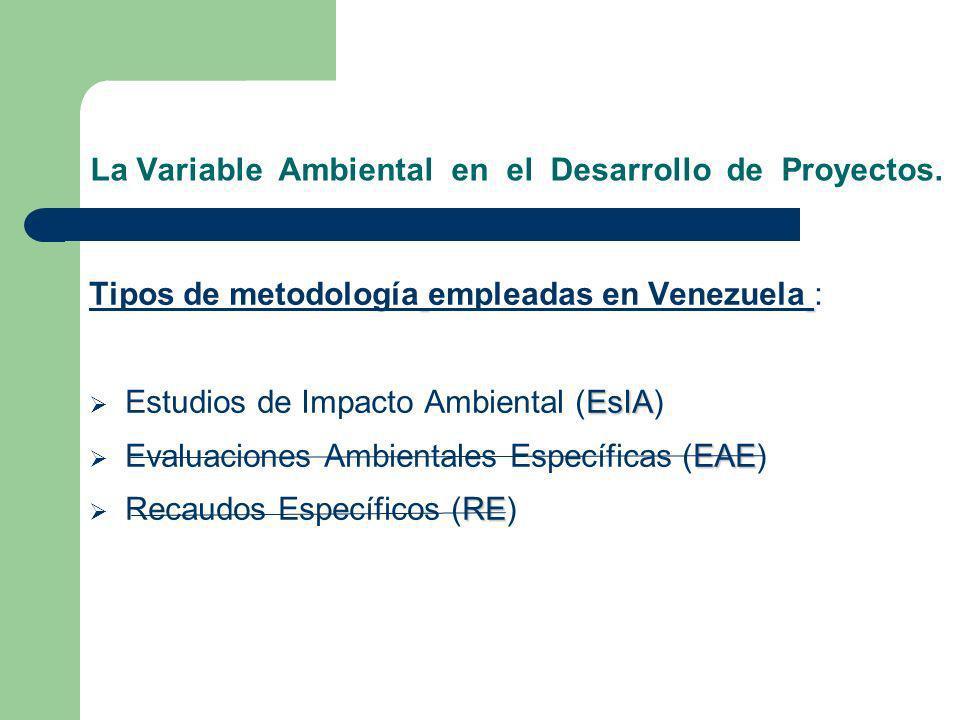 La Variable Ambiental en el Desarrollo de Proyectos. Tipos de metodología empleadas en Venezuela : EsIA Estudios de Impacto Ambiental (EsIA) EAE Evalu