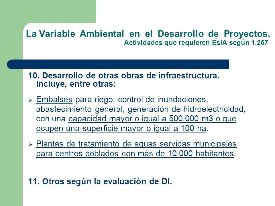 La Variable Ambiental en el Desarrollo de Proyectos. Actividades que requieren EsIA según 1.257. 10. Desarrollo de otras obras de infraestructura. Inc