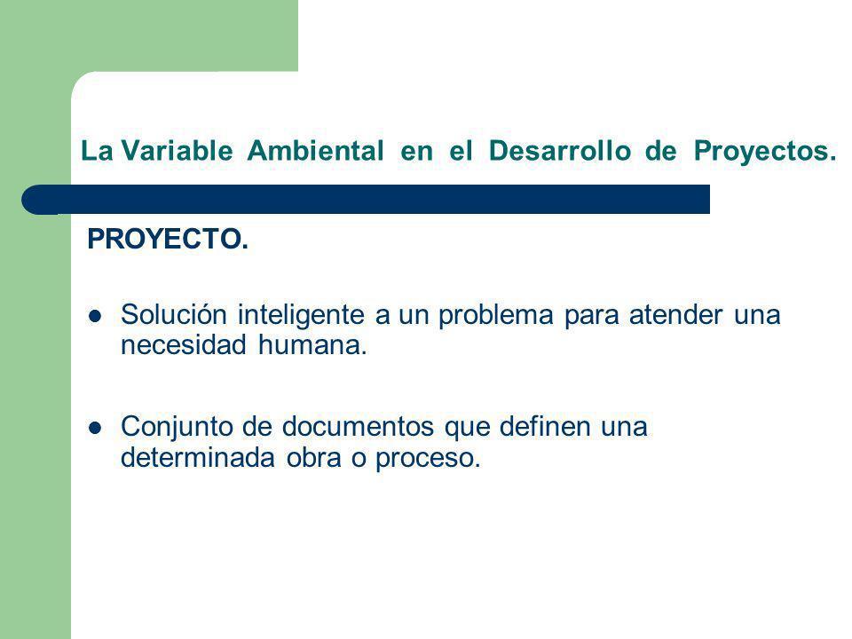 PROYECTO. Solución inteligente a un problema para atender una necesidad humana. Conjunto de documentos que definen una determinada obra o proceso. La