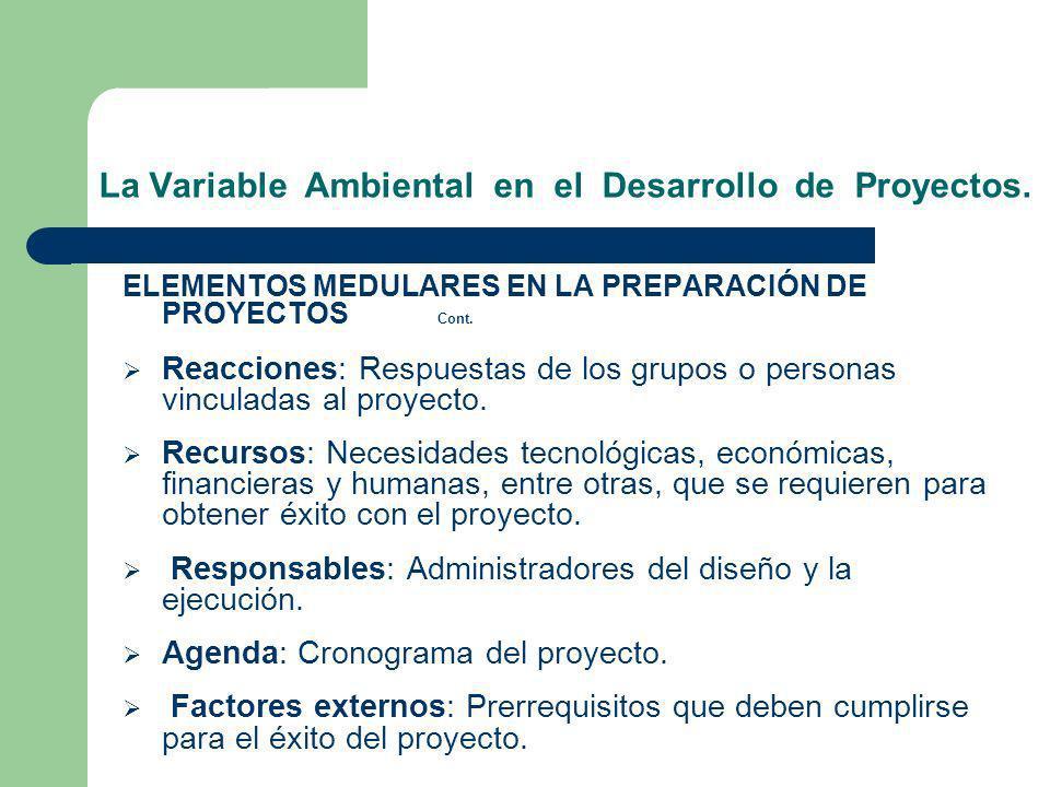 La Variable Ambiental en el Desarrollo de Proyectos. ELEMENTOS MEDULARES EN LA PREPARACIÓN DE PROYECTOS Cont. Reacciones: Respuestas de los grupos o p