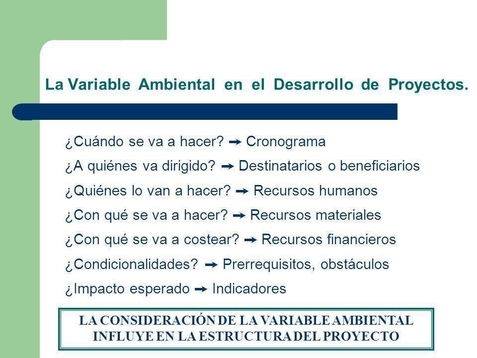 La Variable Ambiental en el Desarrollo de Proyectos. ¿Cuándo se va a hacer? Cronograma ¿A quiénes va dirigido? Destinatarios o beneficiarios ¿Quiénes