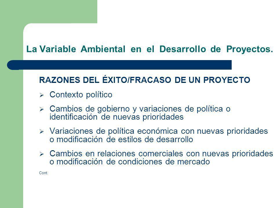 La Variable Ambiental en el Desarrollo de Proyectos. RAZONES DEL ÉXITO/FRACASO DE UN PROYECTO Contexto político Cambios de gobierno y variaciones de p