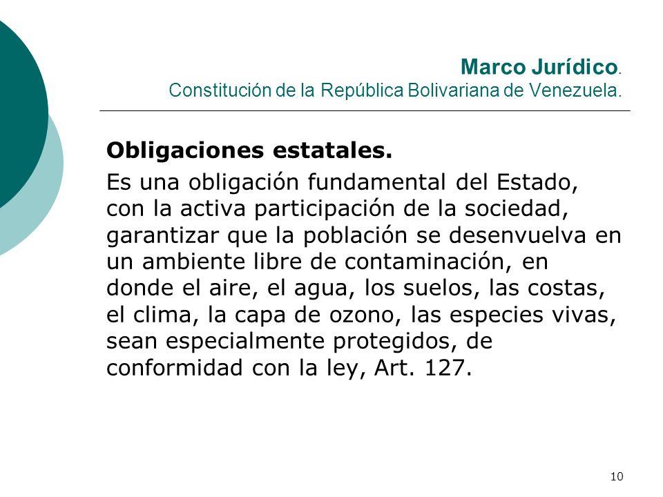 10 Marco Jurídico. Constitución de la República Bolivariana de Venezuela. Obligaciones estatales. Es una obligación fundamental del Estado, con la act