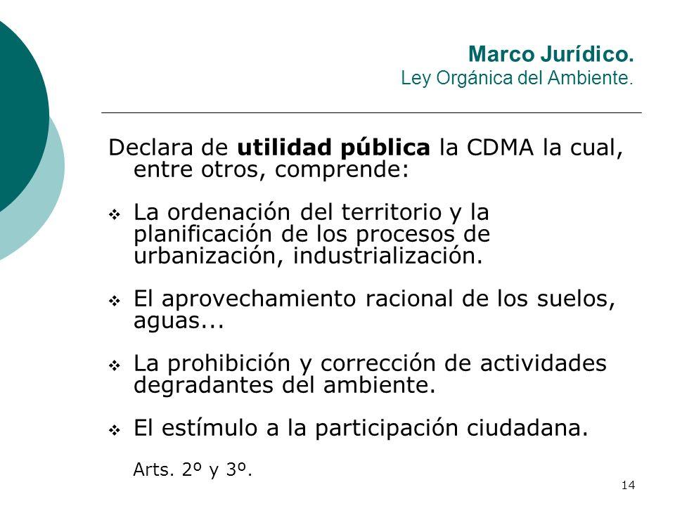 14 Declara de utilidad pública la CDMA la cual, entre otros, comprende: La ordenación del territorio y la planificación de los procesos de urbanizació