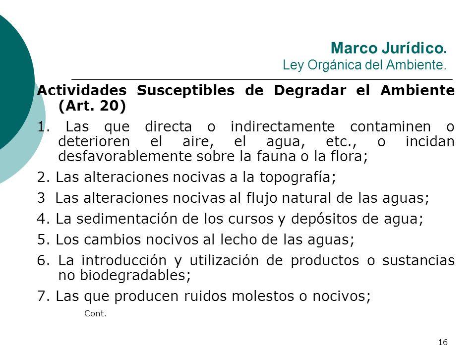 16 Marco Jurídico. Ley Orgánica del Ambiente. Actividades Susceptibles de Degradar el Ambiente (Art. 20) 1. Las que directa o indirectamente contamine