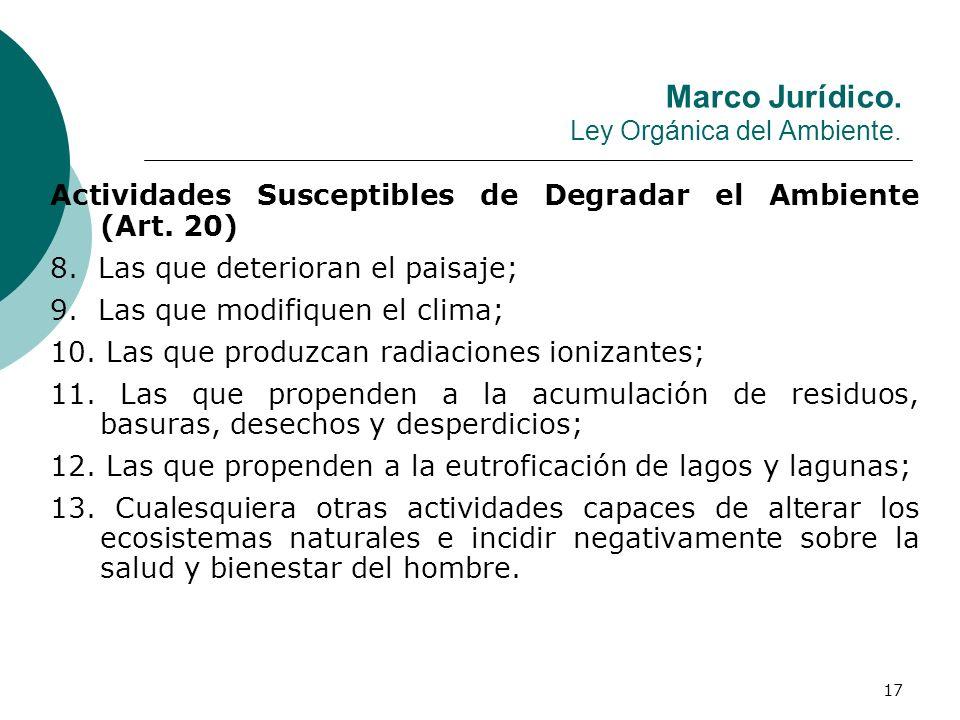 17 Marco Jurídico. Ley Orgánica del Ambiente. Actividades Susceptibles de Degradar el Ambiente (Art. 20) 8. Las que deterioran el paisaje; 9. Las que