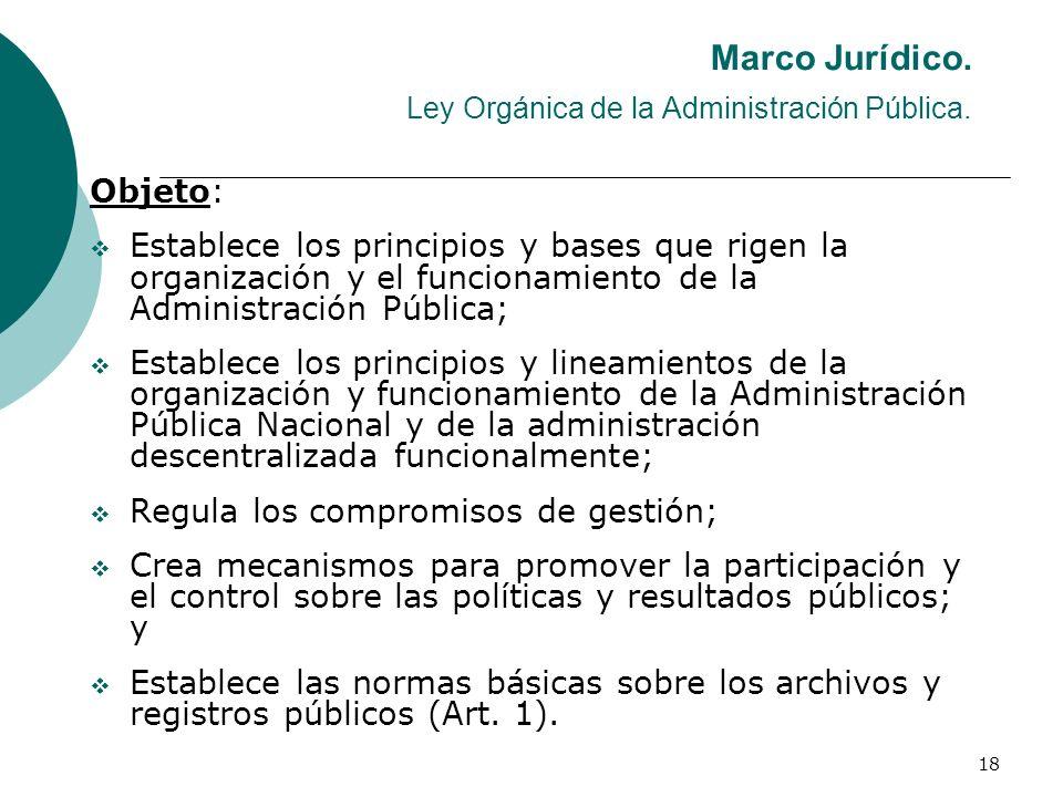 18 Marco Jurídico. Ley Orgánica de la Administración Pública. Objeto: Establece los principios y bases que rigen la organización y el funcionamiento d