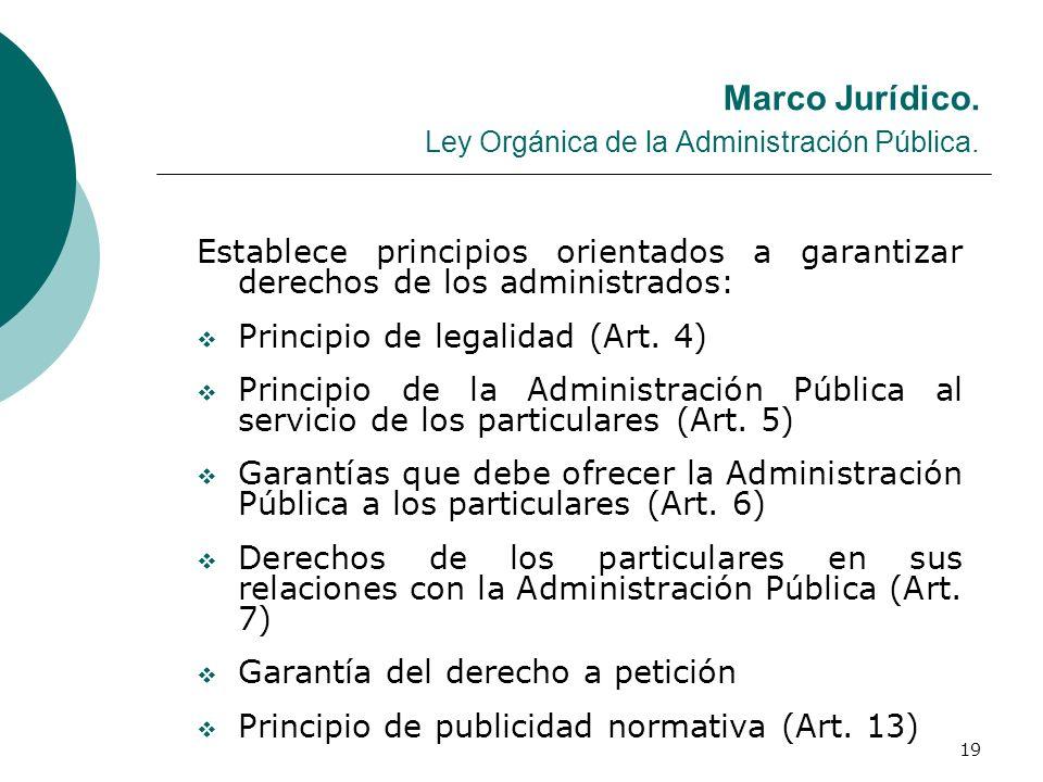 19 Marco Jurídico. Ley Orgánica de la Administración Pública. Establece principios orientados a garantizar derechos de los administrados: Principio de