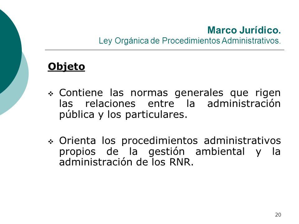 20 Marco Jurídico. Ley Orgánica de Procedimientos Administrativos. Objeto Contiene las normas generales que rigen las relaciones entre la administraci