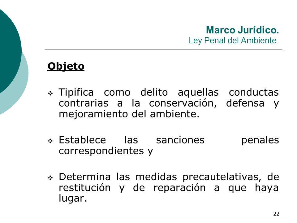 22 Marco Jurídico. Ley Penal del Ambiente. Objeto Tipifica como delito aquellas conductas contrarias a la conservación, defensa y mejoramiento del amb