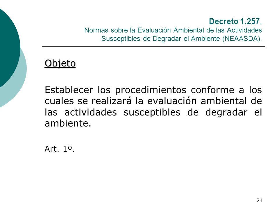 24 Decreto 1.257. Normas sobre la Evaluación Ambiental de las Actividades Susceptibles de Degradar el Ambiente (NEAASDA). Objeto Establecer los proced