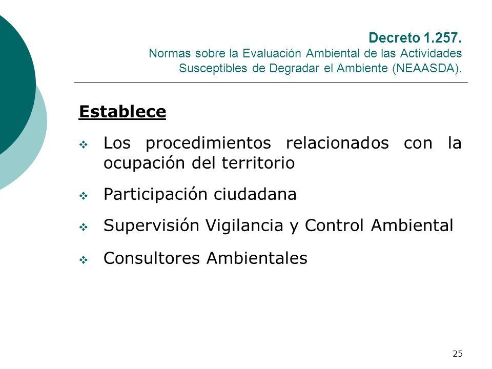 25 Decreto 1.257. Normas sobre la Evaluación Ambiental de las Actividades Susceptibles de Degradar el Ambiente (NEAASDA). Establece Los procedimientos