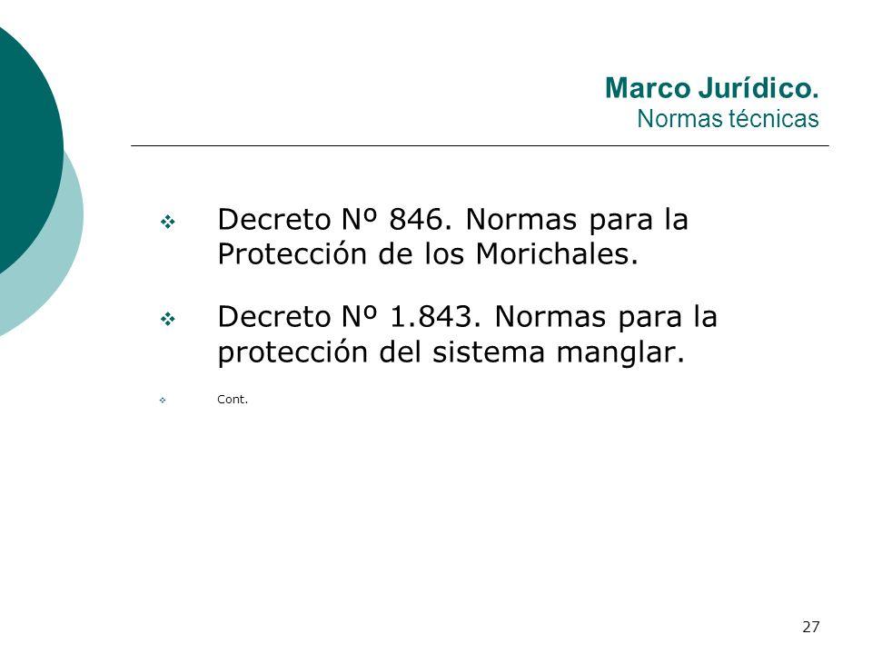27 Marco Jurídico. Normas técnicas Decreto Nº 846. Normas para la Protección de los Morichales. Decreto Nº 1.843. Normas para la protección del sistem