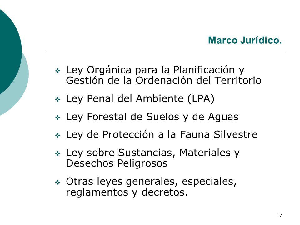 7 Marco Jurídico. Ley Orgánica para la Planificación y Gestión de la Ordenación del Territorio Ley Penal del Ambiente (LPA) Ley Forestal de Suelos y d