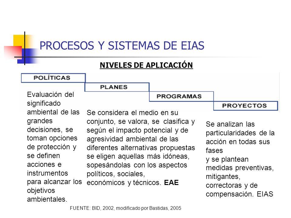 PROCESOS Y SISTEMAS DE EIAS Evaluación del significado ambiental de las grandes decisiones, se toman opciones de protección y se definen acciones e in
