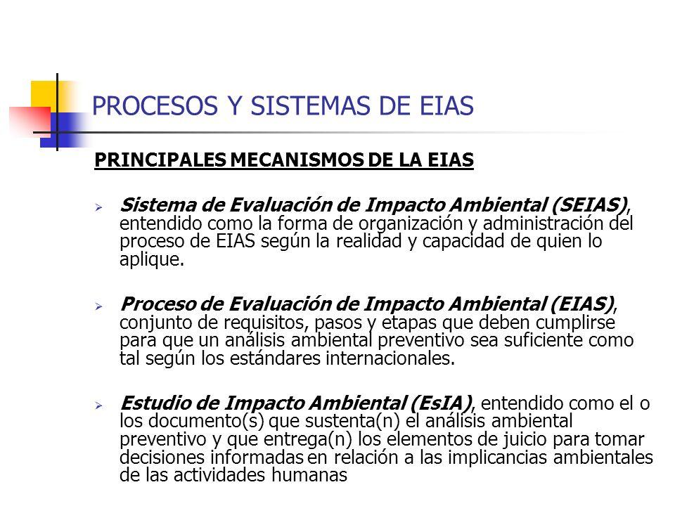 PROCESOS Y SISTEMAS DE EIAS PRINCIPALES MECANISMOS DE LA EIAS Sistema de Evaluación de Impacto Ambiental (SEIAS), entendido como la forma de organizac
