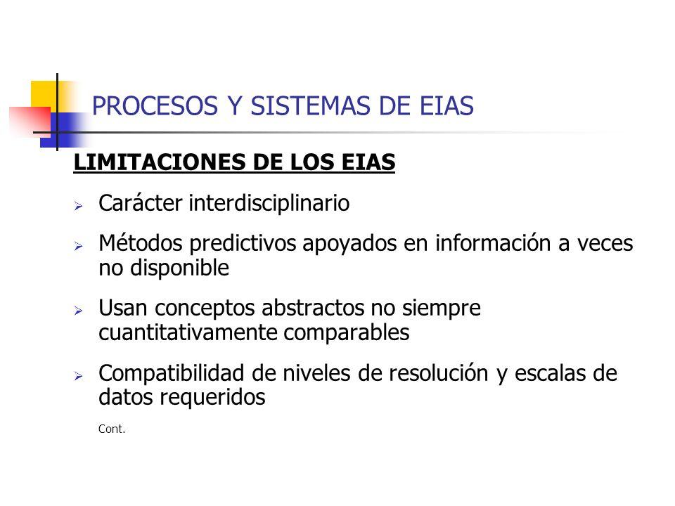 PROCESOS Y SISTEMAS DE EIAS LIMITACIONES DE LOS EIAS Carácter interdisciplinario Métodos predictivos apoyados en información a veces no disponible Usa