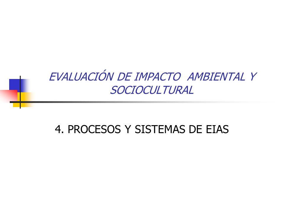 EVALUACIÓN DE IMPACTO AMBIENTAL Y SOCIOCULTURAL 4. PROCESOS Y SISTEMAS DE EIAS