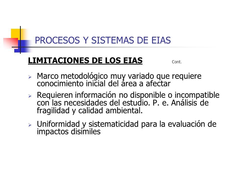 LIMITACIONES DE LOS EIAS Cont. Marco metodológico muy variado que requiere conocimiento inicial del área a afectar Requieren información no disponible
