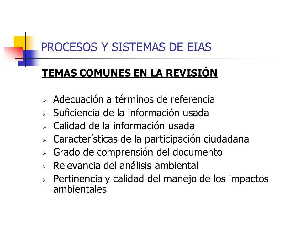 PROCESOS Y SISTEMAS DE EIAS TEMAS COMUNES EN LA REVISIÓN Adecuación a términos de referencia Suficiencia de la información usada Calidad de la informa